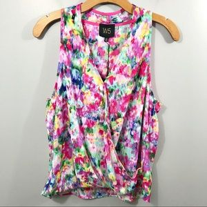 W5 Crossover Sleeveless Blouse Watercolor Floral